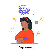 Sad young female character is sitting silently alone having depression on white background