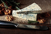 Blue cheese with walnuts and rosemary.