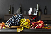 Fruits and red wine.