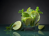 Cocktail with lime, ice and mint.
