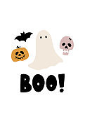 Halloween card with ghost