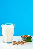 Glass of milk in studio