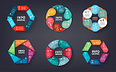 Vector set of colorful loop, circle, step by step infographic. Template for diagram, graph, presentation and chart. Abstract business concept with options, parts, 6 steps or processes. Abstract background.