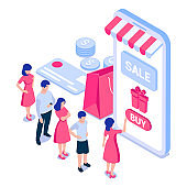 Online shopping concept. People in front of smartphone screen with gift box, credit card, coins, bag. For web banners, infographics.