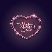 Valentine's Day card design with lights. Vector illustration