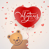 Toy bear with heart. Design for Valentines postcard, invitation. Vector illustration