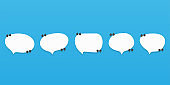 Set of speech bubble quote icons over blue. Flat vector design