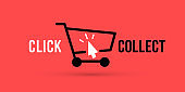 Click and collect business icon illstration