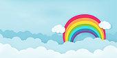 Rainbow over cloud sky vector illustration