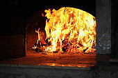 Traditional brick oven with fire