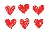 Vector set of hand drawn hearts, isolated on white background. Symbol of love.