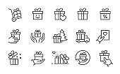 Gift box icon set. Collection of present, package, discount ribbon and more. Vector illustration. Editable stroke.