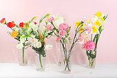 Holiday concept with flowers, spring or summer composition, still life, flowers in a vase, banner. Mother's day card, happy birthday, wedding, flower shop advertisement,