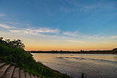 Beautiful Landscape and sunset of Mekhong river between thailand and laos from Chiang Khan District.