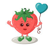Cute smiling strawberry with sneakers holding heart balloon.