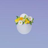 3D illustration, 3D rendering. Egg with flowers.