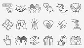 Charity line icon set. Collection of donate, volunteer, help, solidarity and more. Editable stroke.