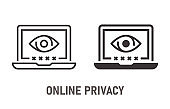 Online privacy icon on white background. Vector illustration.