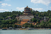 Historical asian temple on the coast of the sea