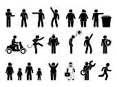 stick man various icons, people silhouettes set, human figure