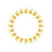 Sunburst frame. Retro Sun burst shape. Old light rays radiating from a center starburst. Vector illustration.
