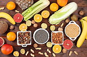 Healthy natural dietary food. Selection of fresh fruits and vegetables with vitamin C for strengthening the immune system and losing weight, detox diet concept, food delivery,
