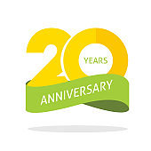 20 years anniversary celebrating vector logo icon in yellow orange green color, number 20th year birthday label tag sign isolated