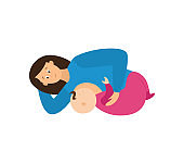 Mother standing and breastfeeding her baby, flat vector illustration isolated.