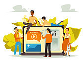 Banner with people searching news online, flat vector illustration isolated.