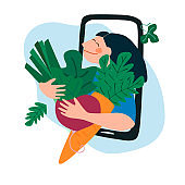 Fresh vegetables delivery concept. Buy online concept. Friendly woman passing carrot and beetroot through phone screen