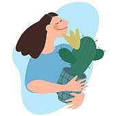 Woman holding cactus. Flat vector illustration. Indoor plants growing, selling, delivery and care service concept