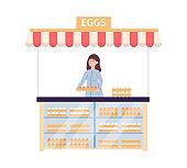 Female farmer sales fresh farm chicken eggs on market a flat vector illustration