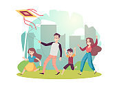 Family flying a kite at cityscape backdrop, flat vector illustration isolated.