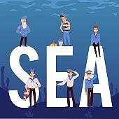 Vector banner with sailors and captain sea crew of cruise liner, ship or yacht