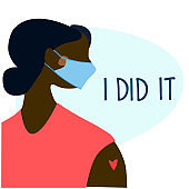 Vaccination time, Stop coronavirus concept. Happy woman after vaccination. Vector illustration with I Did It text