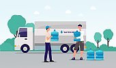 Water delivery service banner - cartoon man with van delivering bottles