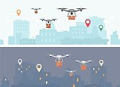 Delivery drone banner set - futuristic drones flying over day and night city
