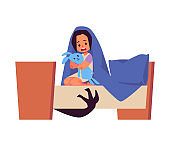Child in bed afraid of imaginary monsters flat vector illustration isolated.