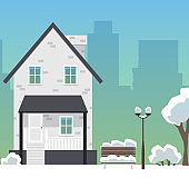 Winter city street with suburban house and skyscrapers flat vector illustration.