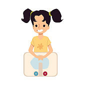 Sink with little girl washing hands, flat vector illustration isolated.