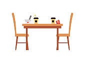 Fast food cafe table with leftovers of food, flat vector illustration isolated.