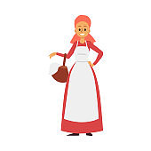 Medieval peasant woman with basket in hand a vector illustration