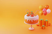 Orange cake birthday, anniversary and event party with gift box and cute balloons colorful 3d illustration