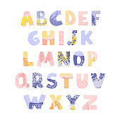 Positive colorful alphabet for children isolated on white