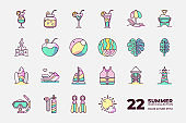 22 Summer Icon in  Color Outline Style