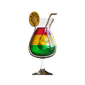 Cocktail 3D Rendering Illustration, suitable for summer, tourism, holiday, or vacation event theme.