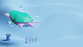 World Oceans Day Landing Page Template With Turtle 3D Rendering