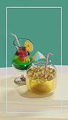 Summer Glass And Jar 3D Rendering Illustration