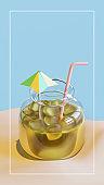 Summer Beverage In Jar 3D Rendering Illustration