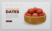 Ramadan Dates landing page with 3D rendering illustration of a gold bowl full of dates fruit